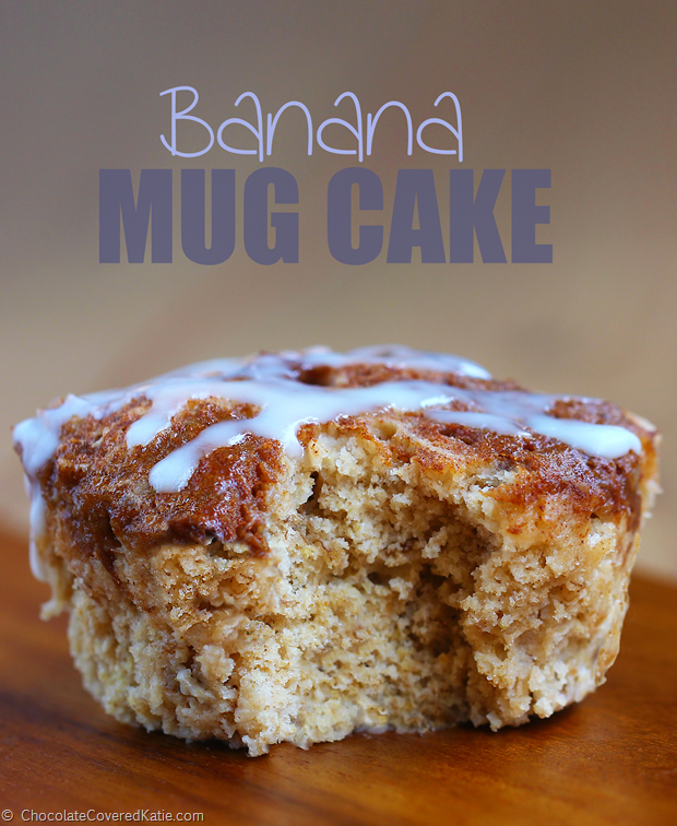 Banana Mug Cake - 1 tbsp mashed banana, 1/4 tsp vanilla extract, 1/4 tsp baking powder, pinch cinnamon, 3 tbsp... Full recipe: http://chocolatecoveredkatie.com/2015/01/13/low-fat-banana-breakfast-cake-mug/ @choccoveredkt