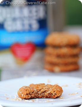 Almond Cookies: http://chocolatecoveredkatie.com/2014/05/14/almond-butter-cookies/