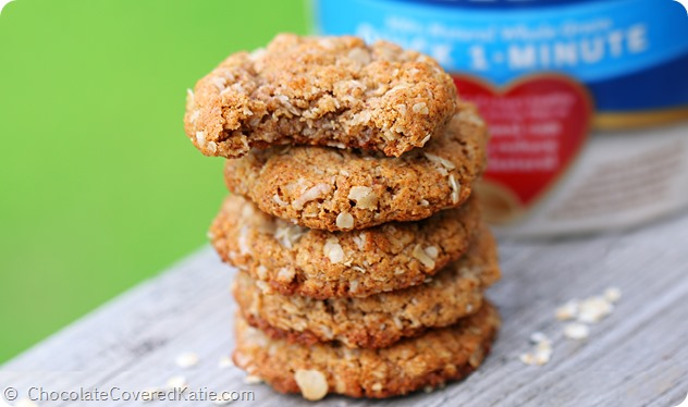 Oat Cookies: http://chocolatecoveredkatie.com/2014/05/14/almond-butter-cookies/