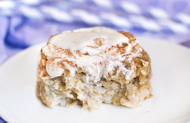 Full recipe link: http://chocolatecoveredkatie.com/2011/09/09/cinnamon-roll-baked-oatmeal/