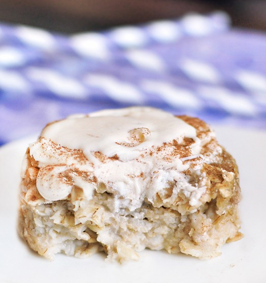 One of my favorite breakfasts... from @choccoveredkt... can be frozen and reheated for an instant breakfast! Full recipe: http://chocolatecoveredkatie.com/2011/09/09/cinnamon-roll-baked-oatmeal/