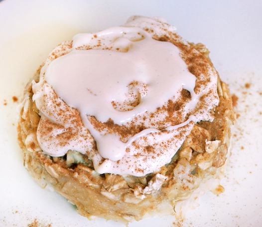One of my favorite breakfast recipes, can be frozen and reheated for an instant breakfast! Full recipe link: http://chocolatecoveredkatie.com/2011/09/09/cinnamon-roll-baked-oatmeal/