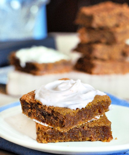 Soft and moist pumpkin bars from @choccoveredkt, with just a few basic ingredients and no oil whatsoever! You won't be able to stop at just one, trust me! Find out how to make them here:  https://chocolatecoveredkatie.com/2011/09/23/pumpkin-cream-cheese-bars/