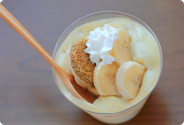 Creamy Southern Banana Pudding: egg-free / dairy-free / gluten-free / vegan / no sugar http://chocolatecoveredkatie.com/2013/07/11/banana-pudding-recipe-healthy/ @choccoveredkt