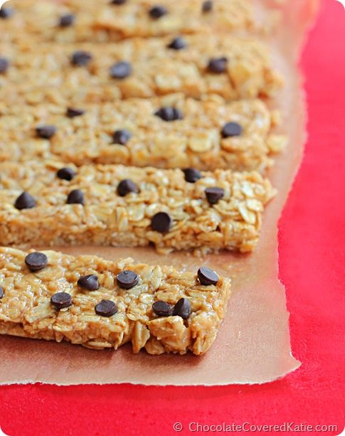 Oil-free, flourless, no high fructose corn syrup, and you can make them ANY flavor you choose! Recipe here: http://chocolatecoveredkatie.com/2014/08/11/protein-granola-bars/
