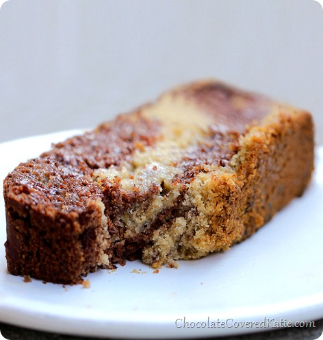 The secretly healthy banana bread recipe with over 6,000 repins on Pinterest and 150 positive reviews from readers. Full recipe here: http://chocolatecoveredkatie.com/2014/01/20/chocolate-marble-swirl-banana-bread/