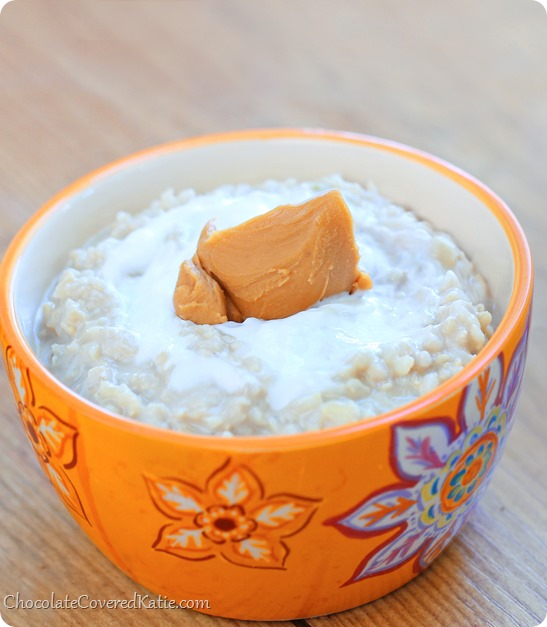 HEALTHY Peanut Butter Rice Pudding. Recipe here: http://chocolatecoveredkatie.com/2014/04/24/peanut-butter-rice-pudding/