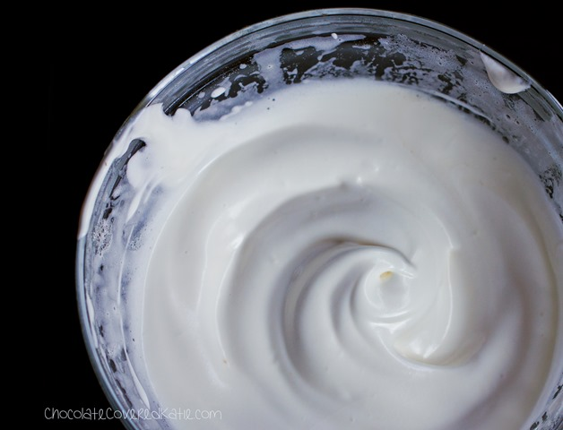 Vegan Marshmallow Fluff without corn syrup or egg whites. Full recipe: https://chocolatecoveredkatie.com/2015/04/30/healthy-vegan-marshmallow-fluff/