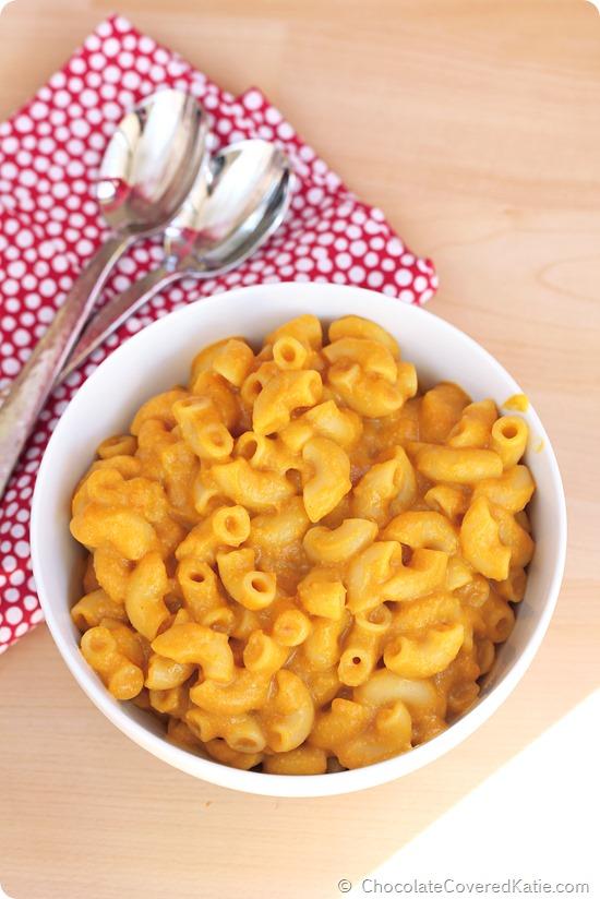 Pumpkin Mac and Cheese: https://chocolatecoveredkatie.com/2014/10/08/pumpkin-mac-cheese/