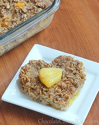 Sunshine Breakfast Baked Oatmeal: http://chocolatecoveredkatie.com/2013/05/15/sunshine-breakfast-baked-oatmeal-recipe/