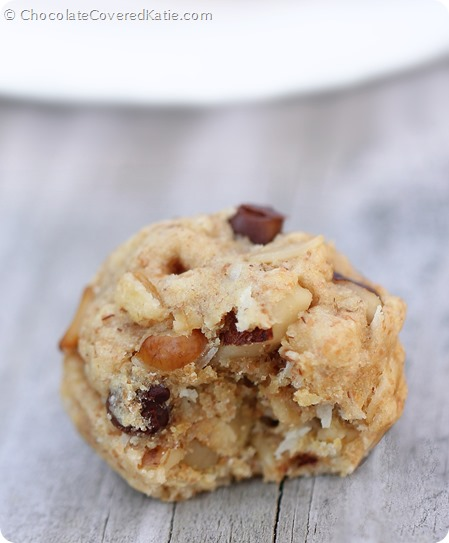Chocolate Chip Oatmeal Cookie Dough Balls: http://chocolatecoveredkatie.com/2014/06/05/chocolate-chip-oatmeal-cookies/