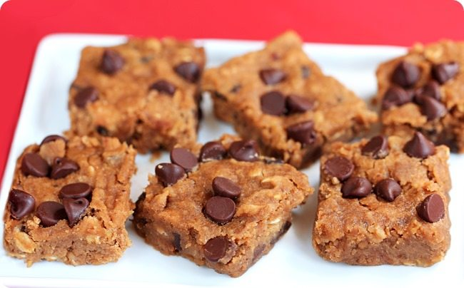 Secretly Healthy Nutella Chocolate Chip Blondies http://chocolatecoveredkatie.com/2014/09/23/nutella-chocolate-chip-blondies/