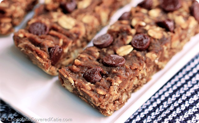 Banana Bread Bars: https://chocolatecoveredkatie.com/2014/09/18/sugar-free-granola-bars/