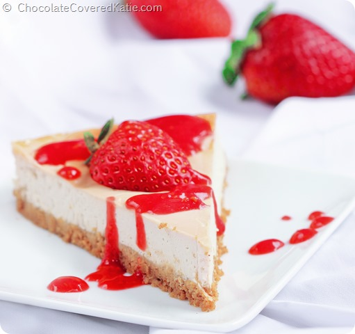 Recipe here: http://chocolatecoveredkatie.com/2014/06/26/raw-cheesecake-recipe/