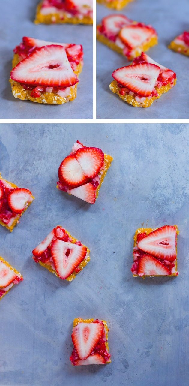 NO BAKE STRAWBERRY BARS sugar-free / egg-free / soy-free / gluten-free / dairy-free. Continue reading---> http://chocolatecoveredkatie.com/2015/06/18/no-bake-strawberry-bars/