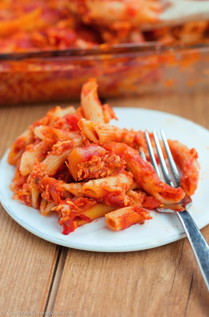 An easy weeknight dinner using pantry staples, there's a very good chance it will become your new favorite go-to pasta dish: http://chocolatecoveredkatie.com/2015/01/27/five-minute-cheesy-baked-pasta-casserole/