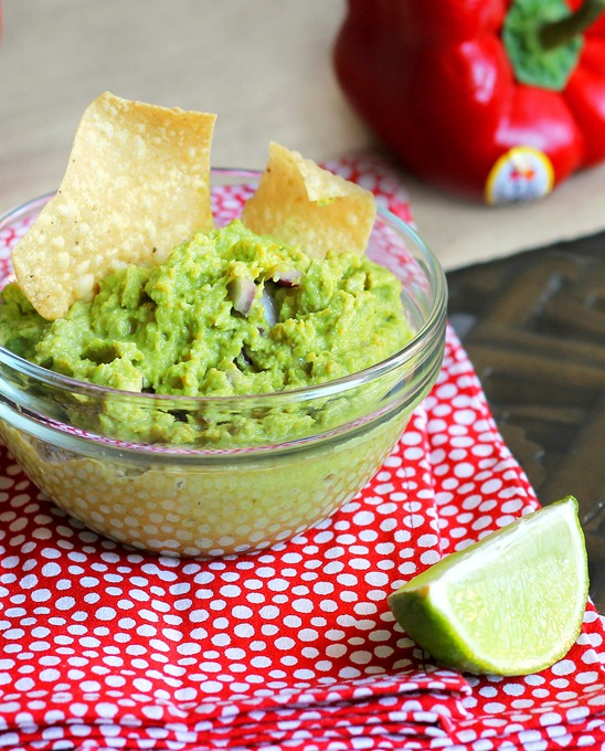 A low-fat alternative to traditional guacamole, with a secret ingredient that boosts the flavor without the calories.  Recipe: http://chocolatecoveredkatie.com/2012/03/08/avocado-free-guacamole/