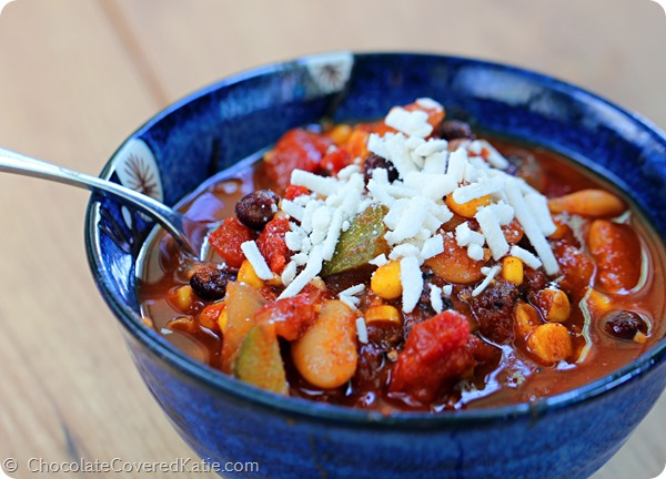 My Favorite Vegetarian Chili Recipe: http://chocolatecoveredkatie.com/2014/08/22/vegetarian-chili-recipe/