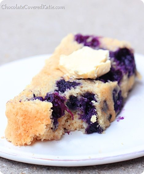 The recipe has a light texture somewhere between a muffin and a cake... and there's very little oil or sugar needed - from @choccoveredkt... It's decadent enough for dessert yet healthy enough for breakfast. http://chocolatecoveredkatie.com/2014/04/27/homemade-blueberry-muffin-cake-bread/