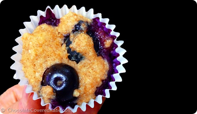 Blueberry Mini Muffin Recipe... impossible to eat just one! http://chocolatecoveredkatie.com/2014/07/07/blueberry-mini-muffins/