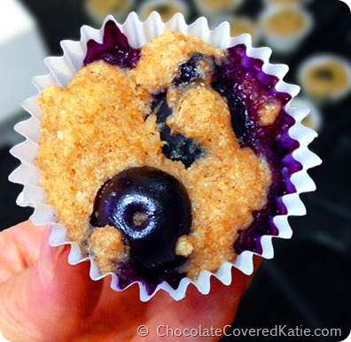 Blueberry Mini Muffins... {impossible to eat just one!} http://chocolatecoveredkatie.com/2014/07/07/blueberry-mini-muffins/
