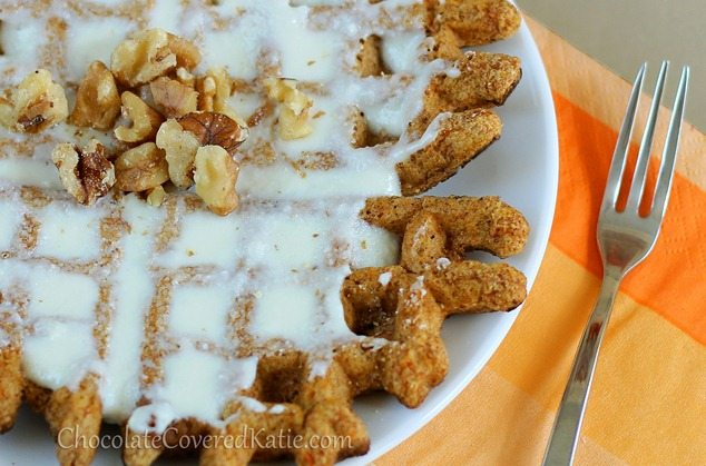 Healthy Carrot Cake Waffles! http://chocolatecoveredkatie.com/2013/03/22/super-healthy-carrot-cake-waffles/