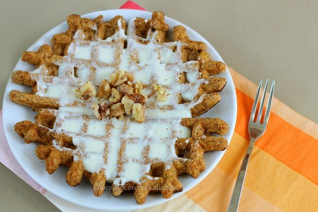 Super-Healthy Carrot Cake Waffles! http://chocolatecoveredkatie.com/2013/03/22/super-healthy-carrot-cake-waffles/