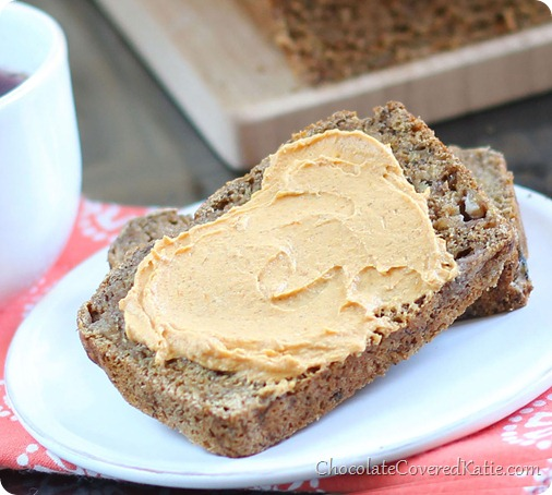 Soft, moist, and cinnamony spicy banana bread like you have never had it before. Ingredients to make the recipe: 2 cups mashed banana, 2 tsp cinnamon, 1 tsp baking soda, 1 1/2 tsp... http://chocolatecoveredkatie.com/2013/10/17/chai-banana-bread-pumpkin-cream-cheese/