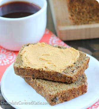 Soft, moist, and cinnamony spicy banana bread like you have never had it before. Ingredients: 2 cups mashed banana, 2 tsp cinnamon, 1 tsp baking soda, 1 1/2 tsp... http://chocolatecoveredkatie.com/2013/10/17/chai-banana-bread-pumpkin-cream-cheese/