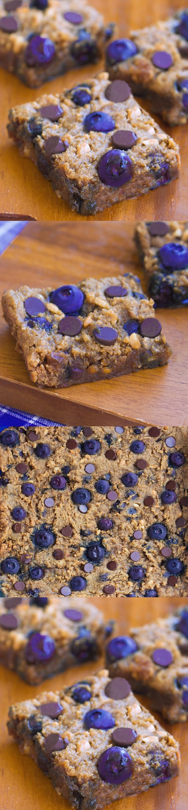 Crazy addictive chocolate chip cookie bars... like the lovechild of a chocolate chip cookie and a blueberry pie! Recipe link: http://chocolatecoveredkatie.com/2015/08/13/chocolate-chip-blueberry-bars-flourless/