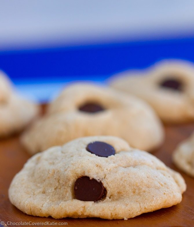 I recommend this recipe to everyone! They are the lightest, softest, chewiest, and most delicious cookies you will ever put in your mouth! Full recipe: http://chocolatecoveredkatie.com/2015/02/10/chocolate-chip-cream-cheese-cookies/
