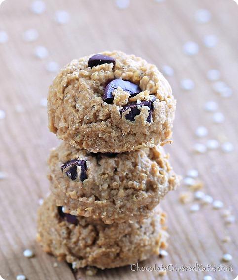 Secret Chocolate Chip Quinoa Cookies: https://chocolatecoveredkatie.com/2014/02/26/chocolate-chip-quinoa-cookies/