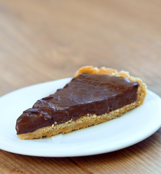Rich, creamy, thick, chocolatey, gooey chocolate pudding pie... no weird ingredients + no baking required: http://chocolatecoveredkatie.com/2015/07/23/homemade-chocolate-pudding-pie-no-tofu/