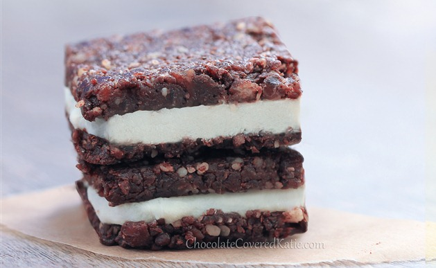 Raw Chocolate Cheesecake Brownies: http://chocolatecoveredkatie.com/2013/07/14/chocolate-cheesecake-brownies/