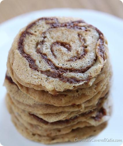 Cinnamon Bun Pancakes. Recipe: http://chocolatecoveredkatie.com/2014/01/24/cinnamon-roll-pancakes/