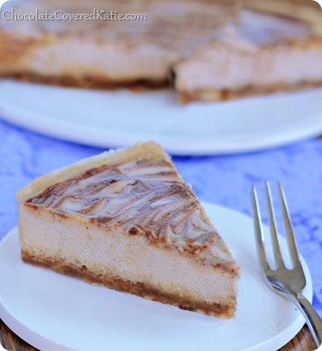 This velvety cheesecake literally MELTS in your mouth! And the best part is that it's secretly good for you! How to make it: https://chocolatecoveredkatie.com/2014/04/01/bake-cinnamon-swirl-cheesecake/