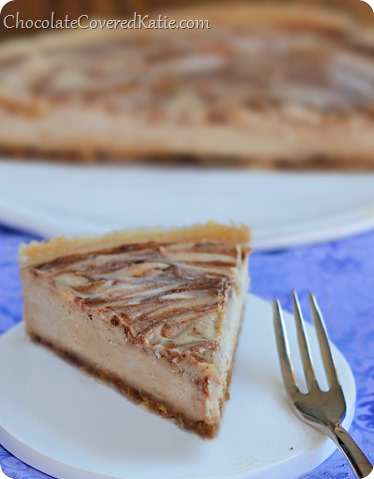 This velvety cheesecake literally MELTS in your mouth! And the best part is that it's secretly good for you - no sugar, no butter, no flour. How to make it: http://chocolatecoveredkatie.com/2014/04/01/bake-cinnamon-swirl-cheesecake/