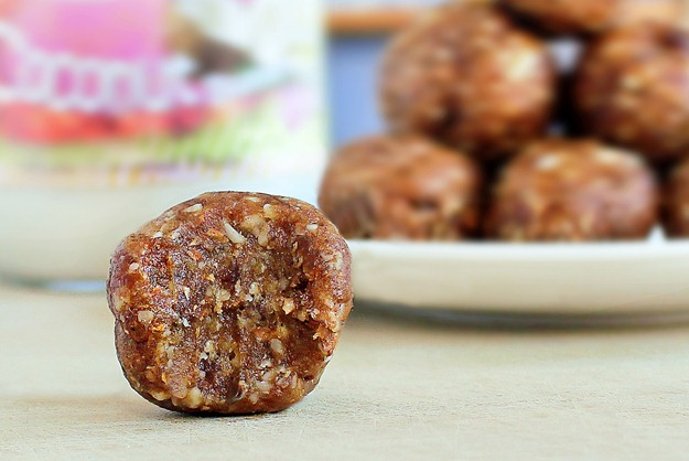 A simple no-bake snack that can be made in under 5 minutes, and both kids and adults will gobble them up: http://chocolatecoveredkatie.com/2012/05/02/2-ingredient-coconut-cookie-dough-balls/