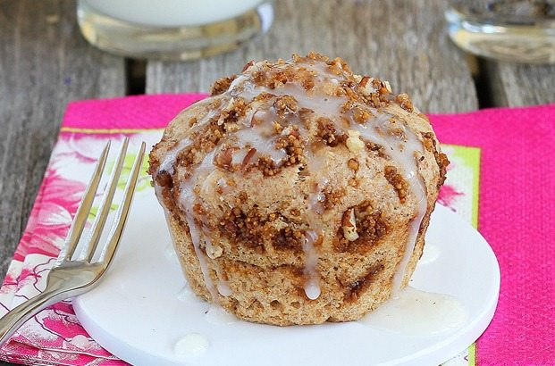 As seen on Buzzfeed - a single serving coffee cake in a mug, can be made in the microwave, and the entire recipe is less than 150 calories. Full recipe link: http://chocolatecoveredkatie.com/2012/05/14/1-minute-coffee-cake-in-a-mug/