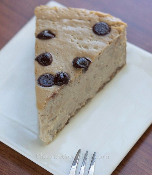 Cappuccino Cloud Cheesecake - Ultra creamy cheesecake MELTS in your mouth... The texture is amazing!!! - from @choccoveredkt: https://chocolatecoveredkatie.com/2013/04/11/secretly-healthy-cappuccino-cloud-cheesecake/