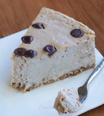 The light & creamy texture is absolutely incredible! Recipe ---> http://chocolatecoveredkatie.com/2013/04/11/secretly-healthy-cappuccino-cloud-cheesecake/