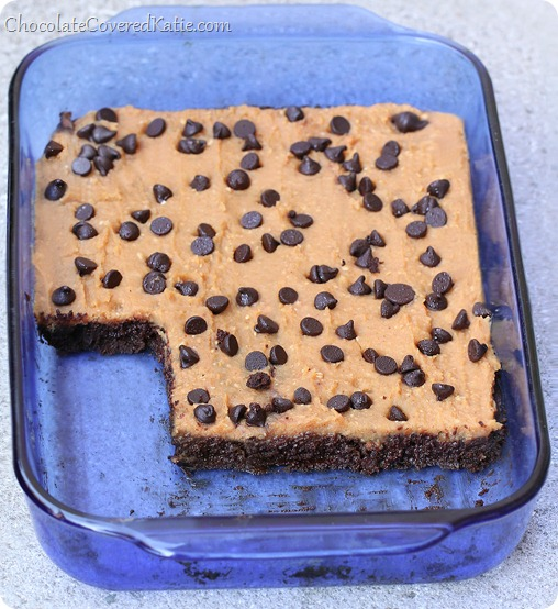 I tried these brownies last night, and they are phenomenal!!!! We polished off the entire pan! @choccoveredkt - https://chocolatecoveredkatie.com/2014/02/21/cookie-dough-brownies/
