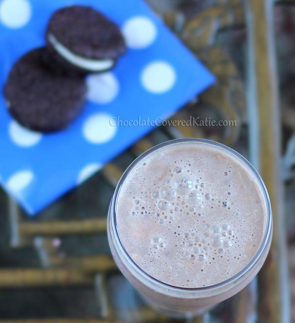 Oreo Milkshake from @choccoveredkt. Recipe here: https://chocolatecoveredkatie.com/2013/07/09/oreo-milkshake/