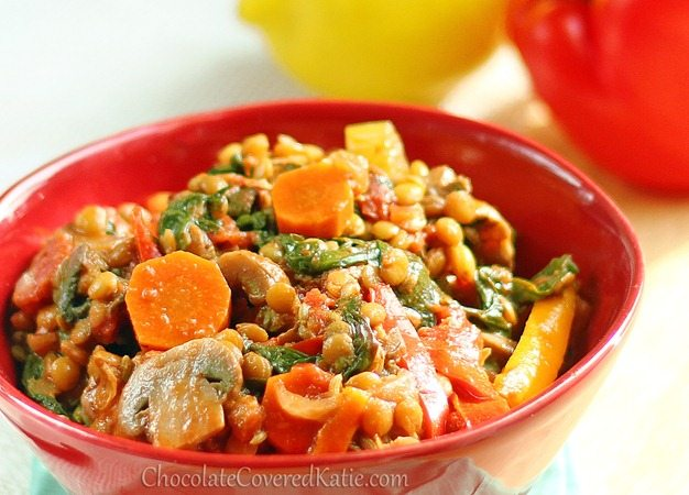 Why not try out a healthy dinner tonight, with this delicious and hearty vegetable stew, bursting with essential vitamins, protein, fiber, and antioxidants? Healthy eating never tasted so good! Find the recipe here: http://chocolatecoveredkatie.com/2013/01/04/1-million-vegetables-lentil-stew/