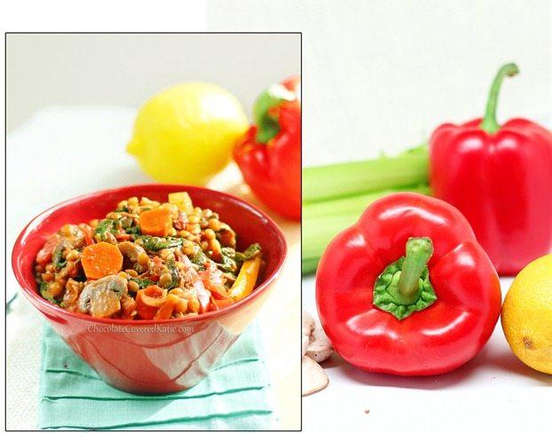 healthy lentil vegetable stew.
