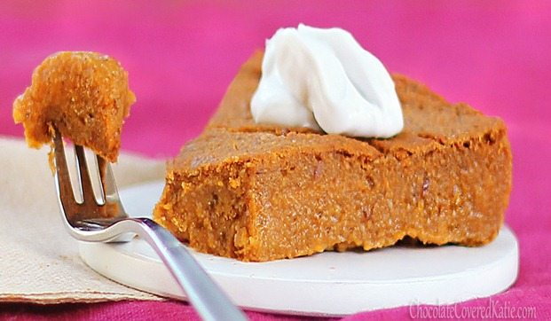 For those who want to avoid the holiday weight gain without giving up dessert, this could be your new favorite recipe: http://chocolatecoveredkatie.com/2012/11/08/crustless-pumpkin-pie/