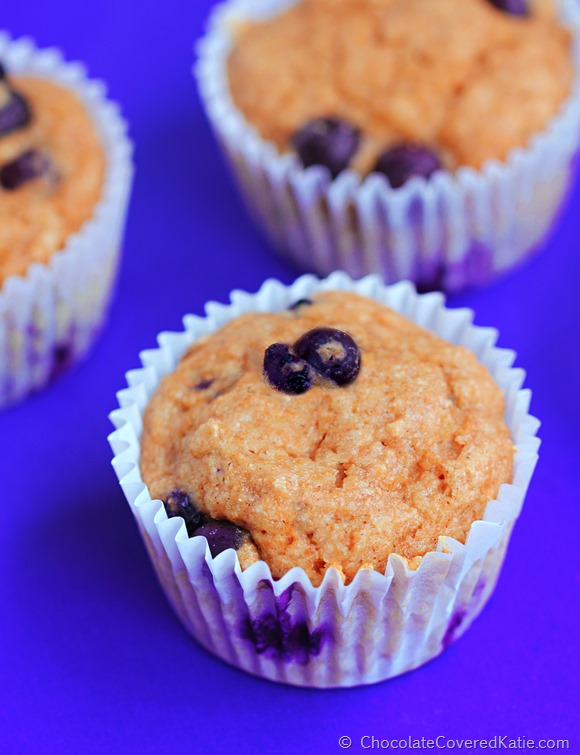 {oil free} Low Fat Blueberry Muffins: http://chocolatecoveredkatie.com/2014/11/10/low-fat-blueberry-muffins/