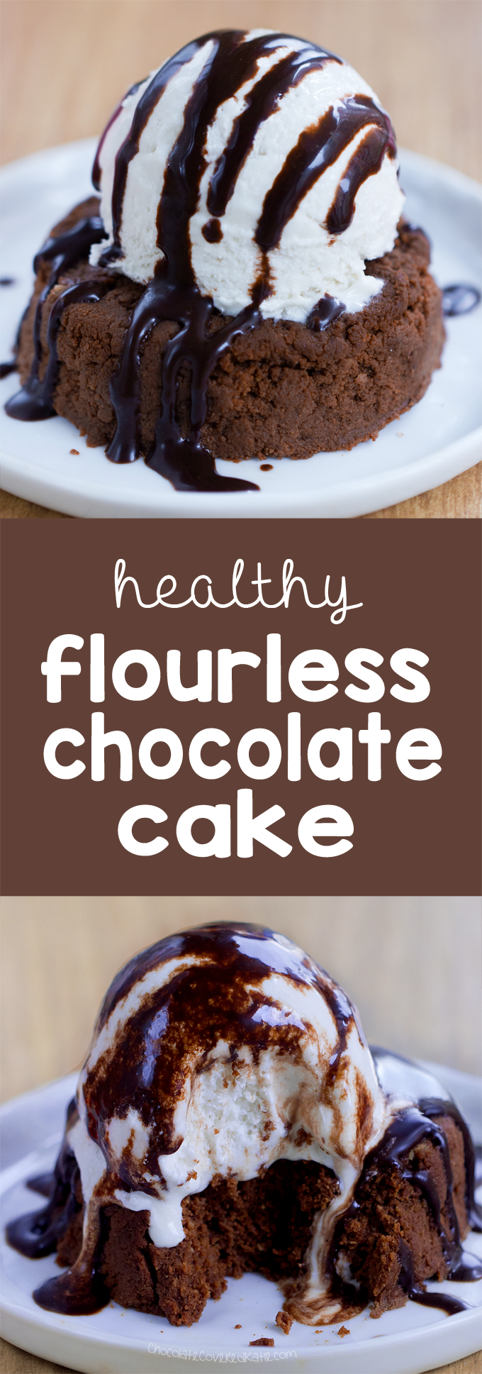 Flourless Chocolate Cake - Ingredients: 1/2 cup cocoa powder, 1/4 tsp baking soda, 2 tsp vanilla extract, 1/2 cup... Full recipe: http://chocolatecoveredkatie.com/ @choccoveredkt