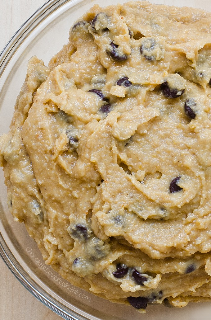 Raw Cookie Dough Recipe - Ingredients: 1/2 cup quick oats, 1/3 cup chocolate chips, 2 tsp vanilla extract, 1/4 cup ... Full recipe: http://chocolatecoveredkatie.com/2016/07/11/raw-cookie-dough-recipe/