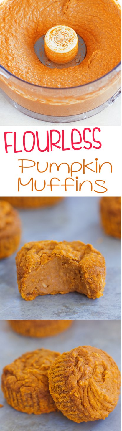 Simple vegan pumpkin muffins, less than 120 calories, from @choccoveredkt… and so easy to make! Here's how to make them: https://chocolatecoveredkatie.com/2015/09/21/flourless-vegan-pumpkin-muffins/